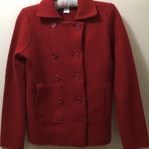 Red Wool Sweater Peacoat
